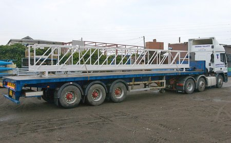 Powder coating a 9m long aluminium footbridge.